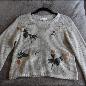 Floral gray sweater